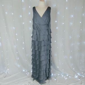 Patra Gray Layered Ruffle Sleeveless Formal Dress
